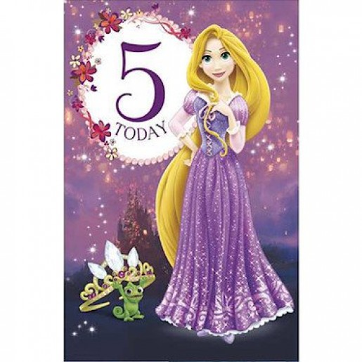 Disney Tangled Birthday Card - 5 Years
