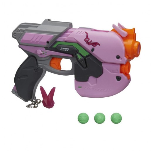 Overwatch D.Va Nerf Rival Blaster with 3 OverWatch Nerf Rival Rounds