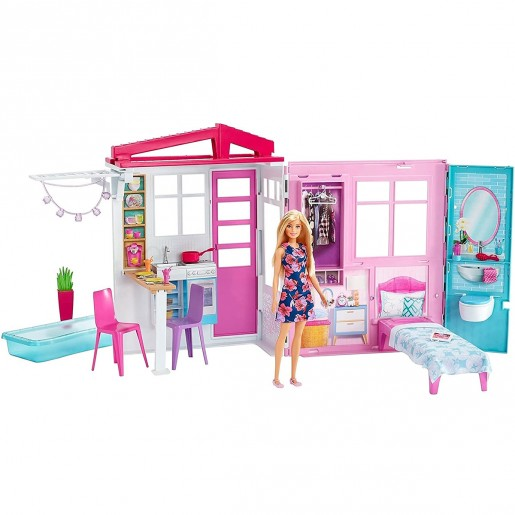 Barbie - Doll and Dollhouse 1-Story Playset